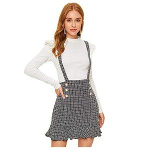 Casual Mid Waist Plaid Suspender Skirt